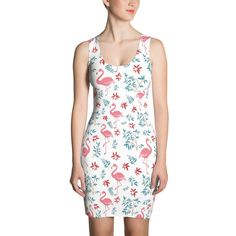 Flamingos With Leaves And Flowers Cut & Sew Dress