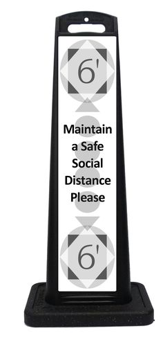 Portable social distancing sign for indoor or outdoor use. Durable all weather plastic panel, vinyl labels and recycled rubber base reminds your customers and guests to maintain a distance between each other while waiting in line. Vinyl Labels, Custom Labels, Portable Signs, Sidewalk Signs, A Frame Signs, Recycled Rubber, Restaurant Interior Design, Distance, Waiting