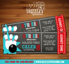 Printable Chalkboard Bowling Ticket Birthday Invitation   Digital File   Bowling Party   Kids Birthday Party Idea   FREE thank you card   Party Package Available   Banner   Cupcake Toppers   Favor Tag   Food and Drink Labels   Signs    Candy Bar Wrapper   www.dazzleexpressions.com