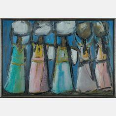 LOT 24 JAIME OATSJaime Oats, (Taxco Mexico, 20th Century) - Five Women, Medium: Oil on canvas, Dimensions: H: 24 W: 35 1/4 Est: $300-500 Signature Signed lower right.