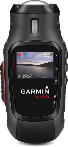 The Garmin VIRB action camera has ANT+ wireless connectivity and a sunlight-readable, menu-driven color display showing real-time recording, preview and instant playback.