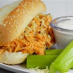 This amazing Crockpot Slow Cooker Buffalo Chicken Sandwiches. Slow Cooker Buffalo Chicken Sandwiches is delicious, healty. it's very tasty and easy to make Buffalo Chicken Sandwiches, Chicken Sandwich Recipes, Chicken Sandwhich, Sandwich Ideas, Salad Sandwich, Slow Cooker Recipes, Crockpot Recipes, Cooking Recipes, Slow Cooking