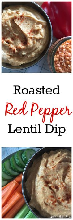Roasted Red Pepper Lentil Dip | This crowd-pleasing dip is vegan, naturally gluten-free and dairy-free, and perfect for your holiday potluck |