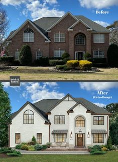 We virtually paint brick houses everyday. We've found 20 painted brick houses to inspire and get you excited to paint your brick. Home Exterior Makeover, Exterior Remodel, White Brick Houses, Stone Houses, Red Brick Homes, Painted White Brick House, Modern Brick House, Modern Houses, Painted Brick Exteriors