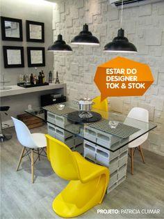 Apartamento cheio de personalidade, a paleta de cores elege o amarelo, cinza,branco e preto para dar o toque especial