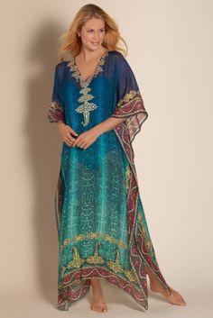 Cote Dazur Caftan - Chiffon Caftan, Turquoise Caftan, Kaftan Cover Up | Soft Surroundings
