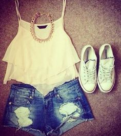 summer outfits. Love the white converse