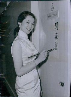 Vintage 1962 Actress Nancy Kwan Writes Name in Chinese on Door Press Photo....iconic in the Qipao!