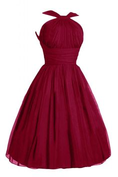 Victoria Dress Fashion A-Line Short Chiffon Pageant Bridesmaid Dresses for Girls-16-Burgundy