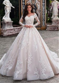 Buy discount Fabulous Tulle Sheer Bateau Neckline See-through Bodice A-line Wedding Dress With Lace Appliques & Beadings & Belt at Laurenbridal.com