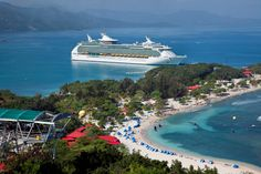 Royal Caribbean Navigator of the Seas at Labadee, Haiti. A truly amazing cruise ship! I was on the 4th sailing ever in 2003. Everything was brand spanking new. It's like a floating city.