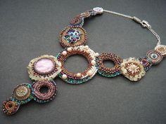 Bubbles Bead Embroidery Statement Necklace by crimsonfrog on Etsy, $300.00