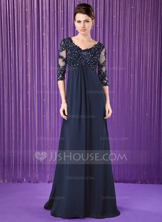 Empire V-neck Sweep Train Lace Beading Zipper Up Sleeves 1/2 Sleeves No 2014 Black General Plus Chiffon Mother of the Bride Dress