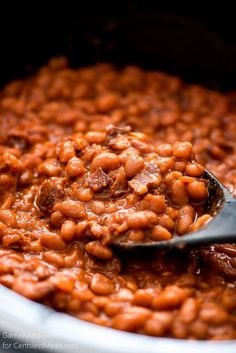 These made-from-scratch Slow Cooker Baked Beans are simple to make, loaded with bacon, and are the perfect side for a barbecue.