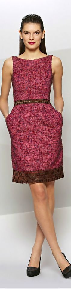 Pink dress with brown trim Fashion Wear, Couture Fashion, Fashion Beauty, Fashion Dresses, Womens Fashion, Casual Work Outfits, Professional Outfits, Chic Outfits, Simple Dresses