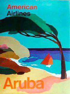 DP Vintage Posters - American Airlines Original Vintage Travel Poster eternal summer Aruba