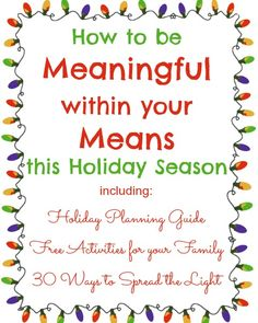 Meaningful & (mostly) Free Family Activities to Spread the Light at Christmas time #holidaymeans