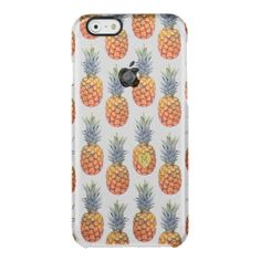 Pineapple Tropical Exotic Fruit Initial Clear iPhone 6/6S Case -  Fruity phone case with an exotic pineapple fruit pattern, with one of the pineapples featuring a carved heart containing your... #custom #beach themed #gift #getuncommon  case design by #special_stationery - #getuncommon  #case #pineapples #pineapple #tropical #carving #heart #initial #monogram #letter #girl #women #fruit #fruity #cute #summer #summertime #gift #carvedheart #lush #modern #stylish #trendy