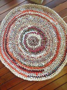 Mandala Cloth RUG Beige Rust 105cm Round RUG Upcycled Handmade Crochet Ragrug | eBay