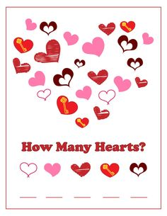 Simple Cute Valentine's Day themed heart counting worksheet.