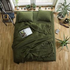 Green Linen Duvet Cover / Custom Size Duvet Cover Our natural linen duvet cover will enrapture you with simple forms, clear colors, extreme comfort, quality and a breath of nature in your home. This handmade item is long lasting, nature-friendly and looks better and better with age and