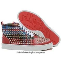 #Christian Louboutin Louis Studded Hi Top Sneakers Red