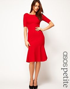 ASOS PETITE Exclusive Seamed Bodycon Dress With Trumpet Hem