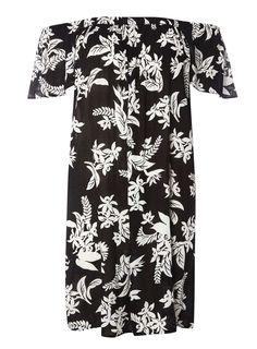 Womens **Tall Black Silhouette Floral Shift Dress- Black