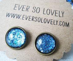summer nights and starry skies - handmade teal blue sparkly metallic nickel earrings