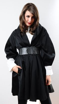 1960s Black Gaberdine Sateen SWING Coat White by Fuzzybellas, $145.00