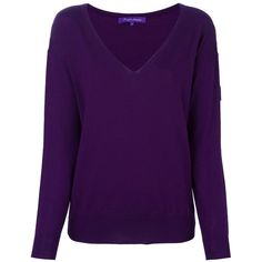 Ralph Lauren Purple v neck jumper (€335) ❤ liked on Polyvore featuring tops, sweaters, purple, purple sweater, purple v neck sweater, purple jumper, jumper top and v neck jumper