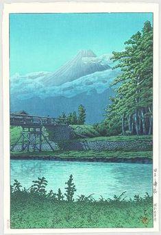 1930 - Hasui, Kawase - Mt. Fuji from Tagonoura Bridge at Night - Artelino