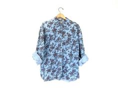 Soft Denim Floral Shirt Oversize Button Up Pocket Shirt 90s Light blue Cotton preppy BOHO shirt. womens size Medium Large