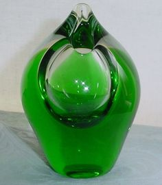 SMALL Sensual CZECH or BOHEMIAN SCULPTURAL Modern VASE Glass GLOWS in BLACKLIGHT