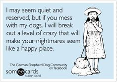 I may seem quiet and reserved, but if you mess with my dog, I will break out a level of crazy that will make your nightmares seem like a happy place. (LoL!!!)