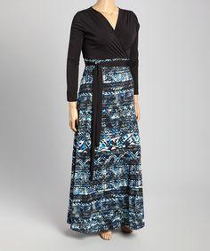 This Black & Blue Tribal Surplice Maxi Dress - Plus is perfect! #zulilyfinds