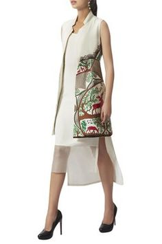 Buy Crewel & hand embroidered long jacket by Limerick by Abirr N' Nanki at Aza Fashions India Usa, Dresses For Work, Summer Dresses, Embroidered Jacket, Long Jackets, Hand Embroidery, How To Make, How To Wear, Indian