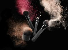 The Powder Brush Makeup Backgrounds, Makeup Wallpapers, Beauty Business Cards, Makeup Artist Business Cards, Hair Salon Logos, Make Up Studio, Brush Background, Makeup Illustration, Cosmetic Shop