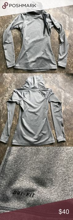 Nike Pro Hyperwarm top Like new condition Nike Pro Hyperwarm top. Size small, light fleece inside, dri-fit, fitted style with cute side-tie adjustable funnel neck. Nike Tops