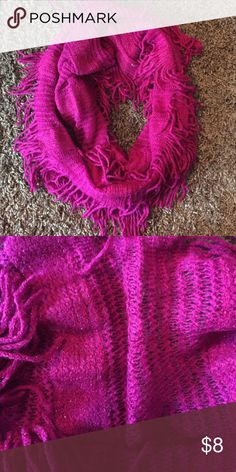 *3 for $20* Hot pink and fringed infinity scarf Super soft and pretty infinity scarf with fringe Accessories Scarves & Wraps