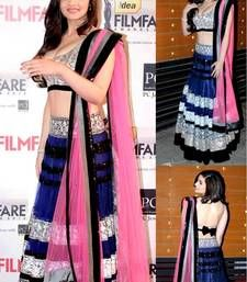 Buy blue color embroidery work net fabric lehenga bollywood style with blouse piece bollywood-lehenga online