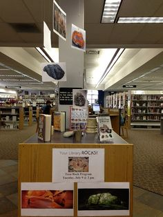 "March library display: ""Our Library Rocks"" theme: Rocks & Minerals"