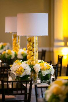 Lampshades as Wedding Decor: 50 Examples of Fabulous: We love the look of lampshades, both vintage and contemporary. And there are myriad ways to incorporate them into your wedding's decor, whether your theme is country-chic or city-glam. Lemon Centerpieces, Wedding Centerpieces, Wedding Decorations, Centrepieces, Lantern Centerpieces, Elegant Centerpieces, Tall Centerpiece, Centerpiece Ideas, Decoration Table