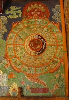 Desire realm - Tibetan Bhavacakra or Wheel of Life, in Sera, Lhasa