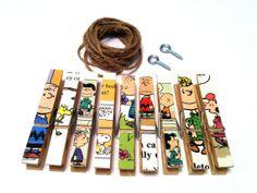 Charlie Brown Art Display Photo Clothesline Kit Vintage 1980 Upcycled Book Decor Peanuts Gang Nursery Kids Room 9 Clothespins Twine & Screws...