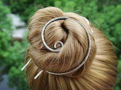 Silver Bun Holder Spiral Hair Bun Cage Hair Fork, Silver Hair Clip Metal Hair Stick Hair Pin Rustic Hand Forged Hair Brooch Hair Accessories