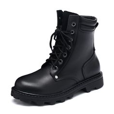 CYBLING Black Flat Combat Short Boots For Women Round Toe Lace Up Ankle Bootie ** Discover this special boots, click the image : Desert boots