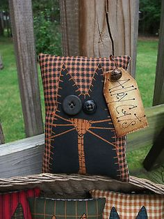 FOLK Art PrimiTive Fall ALLEY CAT Pillow Bowl Basket Fillers Buttons DecoraTion