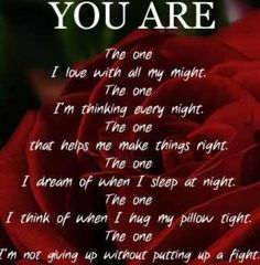 I've always fought for us and I always will...I will never stop fighting....I promise You are the one, my only one!! ❤