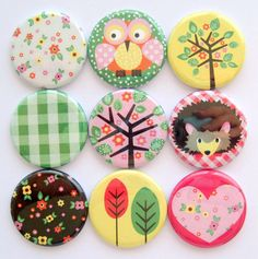 Magnets  Woodland Cuteness  Button Magnets by StuckTogetherMagnets, $14.00